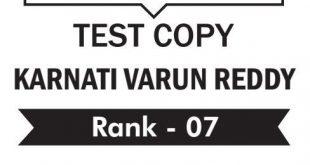 UPSC Topper Karnati Varun Reddy Rank 7 Ethics Copy