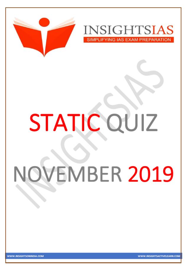 Insights IAS Static Quiz November 2019 PDF