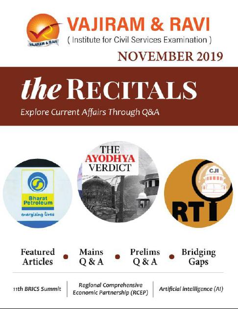 Vajiram and Ravi Recitals November 2019 Current Affairs PDF