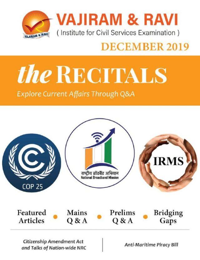 Vajiram and Ravi Recitals December 2019 Current Affairs PDF