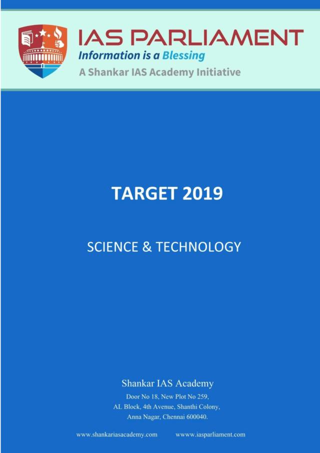 Shankar IAS Target 2019 Science and Technology - I