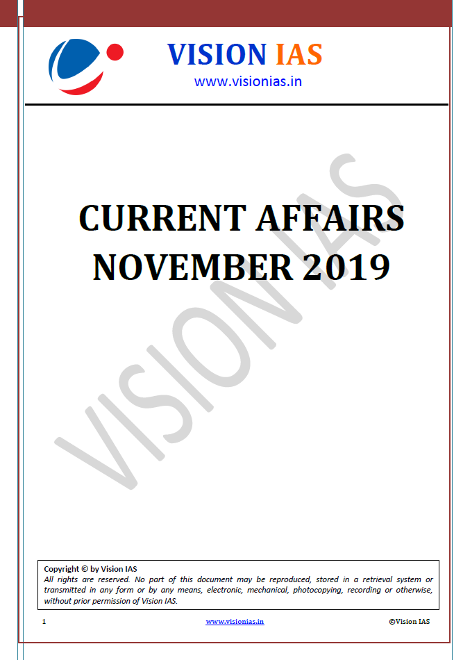 Vision IAS Monthly Current Affairs November 2019 PDF